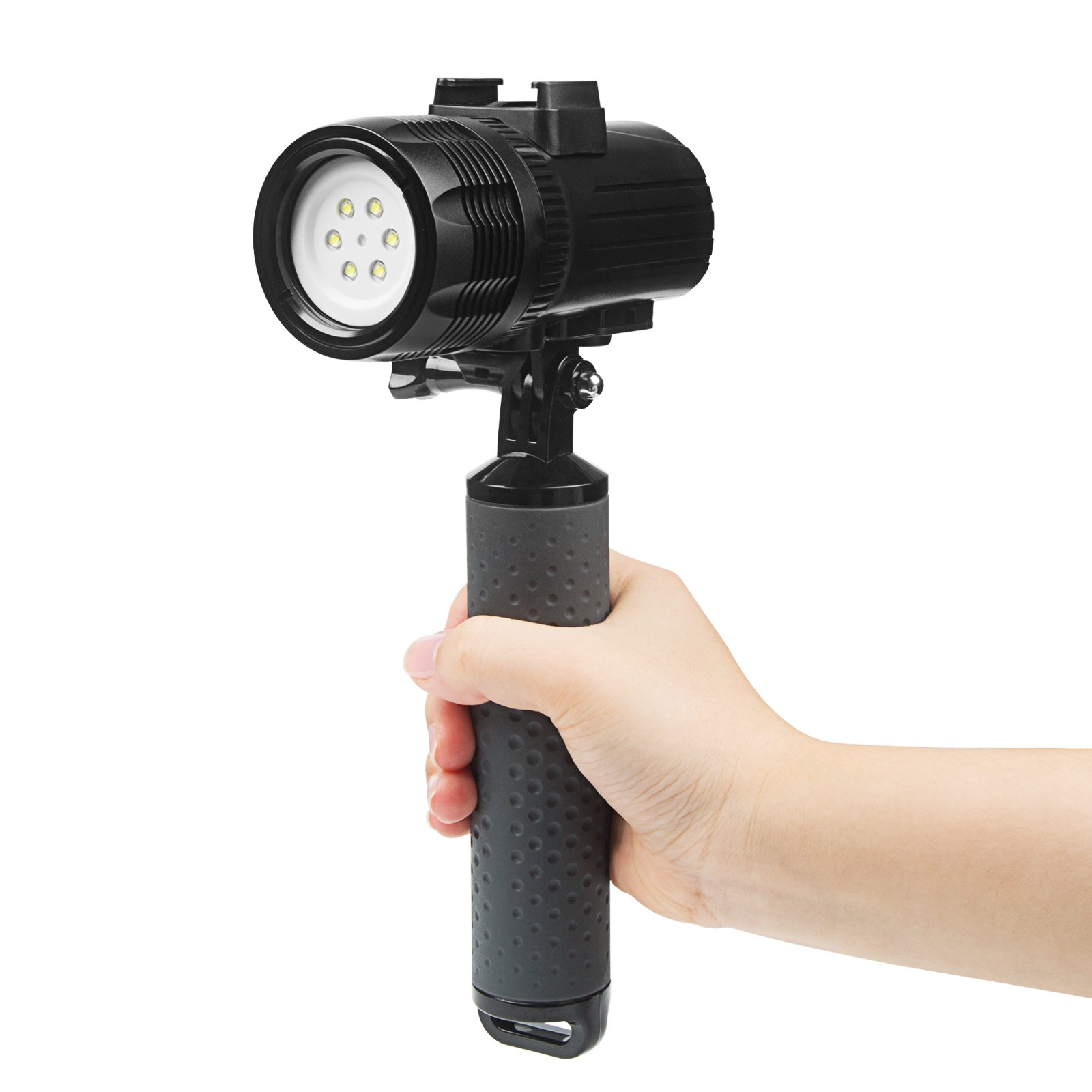 D&F Waterproof Torch LED Light 1000LM Diving 60m Video Flashlight Lamp for GoPro Hero 7/6/5/4/HERO(2018), AKASO,Campark,Crosstour,APEMAN and Other Action Sports Camera by D&F