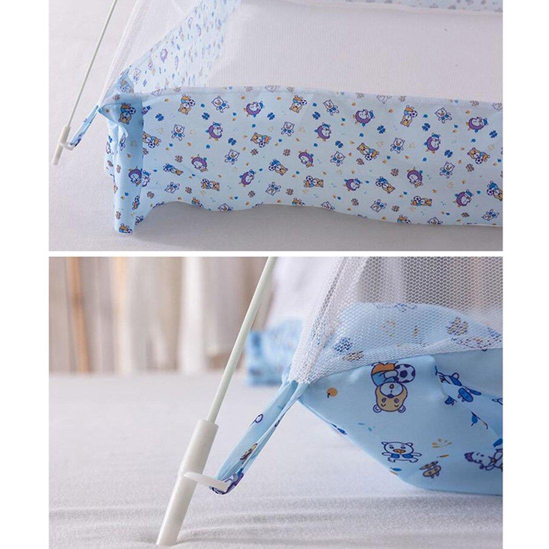 beautylife66 Enfant Moustiquaire Forme de D/ôme Tente Lit Berceau Couffin avec Support Bleu,S