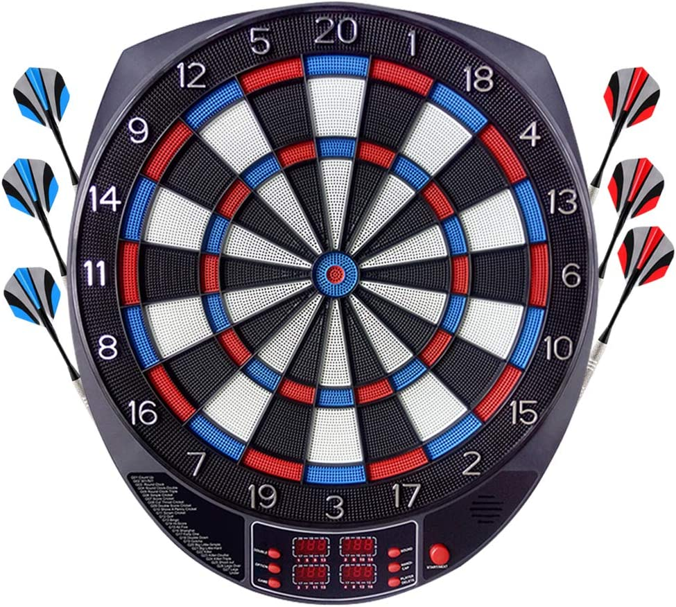 OUKITEL Electronic Dart Board, Dartboard Games Scoreboard Darts Board Set with 6 Darts, Spare Tips, 27 Games and 243 Variants for 8 Players Professional Reduced Bounce-Outs, Durability : Sports & Outdoors