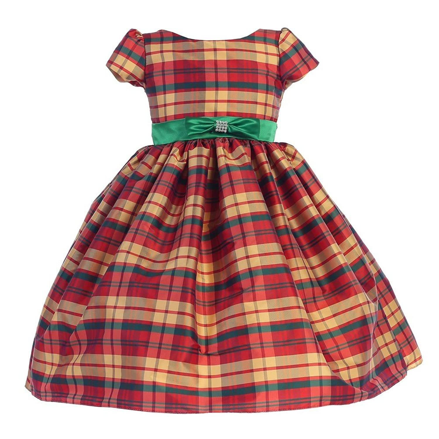 Kids 1950s Clothing & Costumes: Girls, Boys, Toddlers Ellie Kids Little Girls Red Green Bow Short Sleeve Tartan Christmas Dress 2-6 $40.00 AT vintagedancer.com