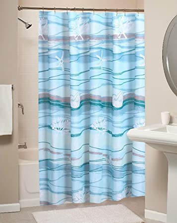 Coastal Seaside Cottage Print Pattern Ocean Blue Fabric Shower Curtain