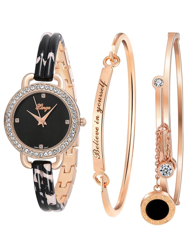 Xinge D3866L Armband- und Uhr-Set - RosÉgold - japanisches Quarz-Uhrwerk - mit 2 Edelstahl-ArmbÄndern - fÜr Damen
