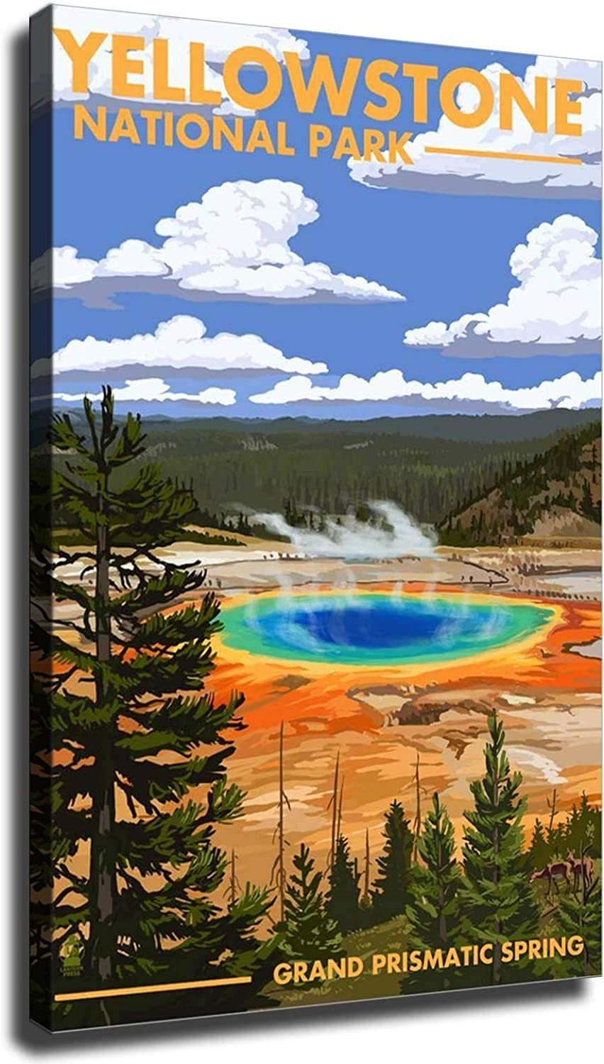 GREAT Modern Wall Poster Art Print Oil Painting on Canvas Home Decor Wall Decoration Canvas Art Yellowstone National Park, Grand Prismatic Spring Art Print Poster (Unframed-No Framed,12×18inch)