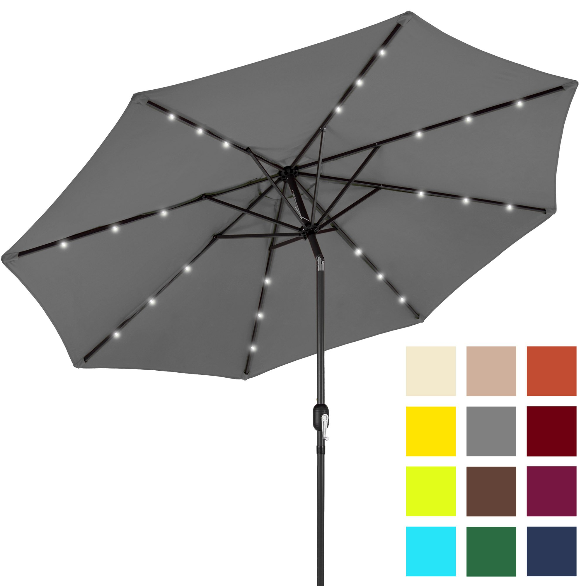 Best Choice Products 10ft Solar LED Lighted Patio Umbrella w/Tilt Adjustment - Gray