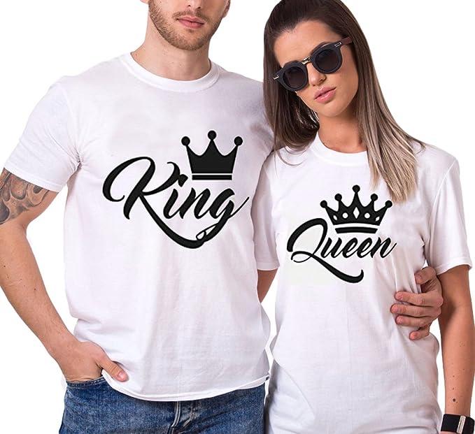 1a78d8e550e Pareja Camisetas King Queen T-shirt 100% algodón Rey Reina 2 pierzas  Impresión Corona