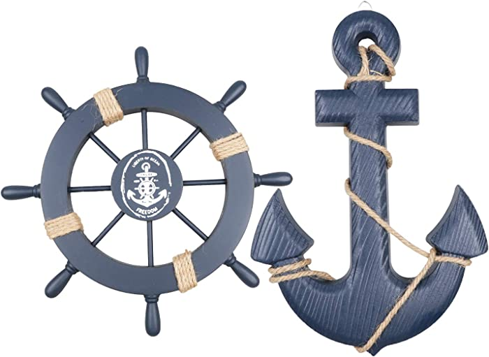 "Meching 2 Pack 11"" Nautical Beach Wooden Ship Wheel and 13"" Wood Anchor with Rope Nautical Boat Steering Rudder Wall Decor Door Hanging Ornament Beach Theme Home Decoration(Blue)"