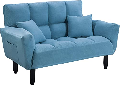 Loveseat Sleeper 55″ Tufted Linen Fabric Splitback Sofa Couch Living Room Sleeper Futon Linen Recliner Chair