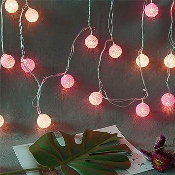 Glowjoy - Guirnalda de Luces con 20 Bolas de algodón, 3,7 m, Color Blanco cálido, Bolas de algodón, Luces LED para Fiestas, Temas, Navidad, habitación de los niños, luz Nocturna, decoración: Amazon.es: Electrónica