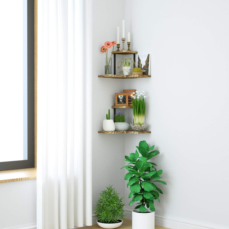 Bathroom Renewed 2 Tier Wood Wall Shelf for Bedroom Wall Mounted Floating Corner Shelf SRIWATANA Rustic Corner Shelf Living Room