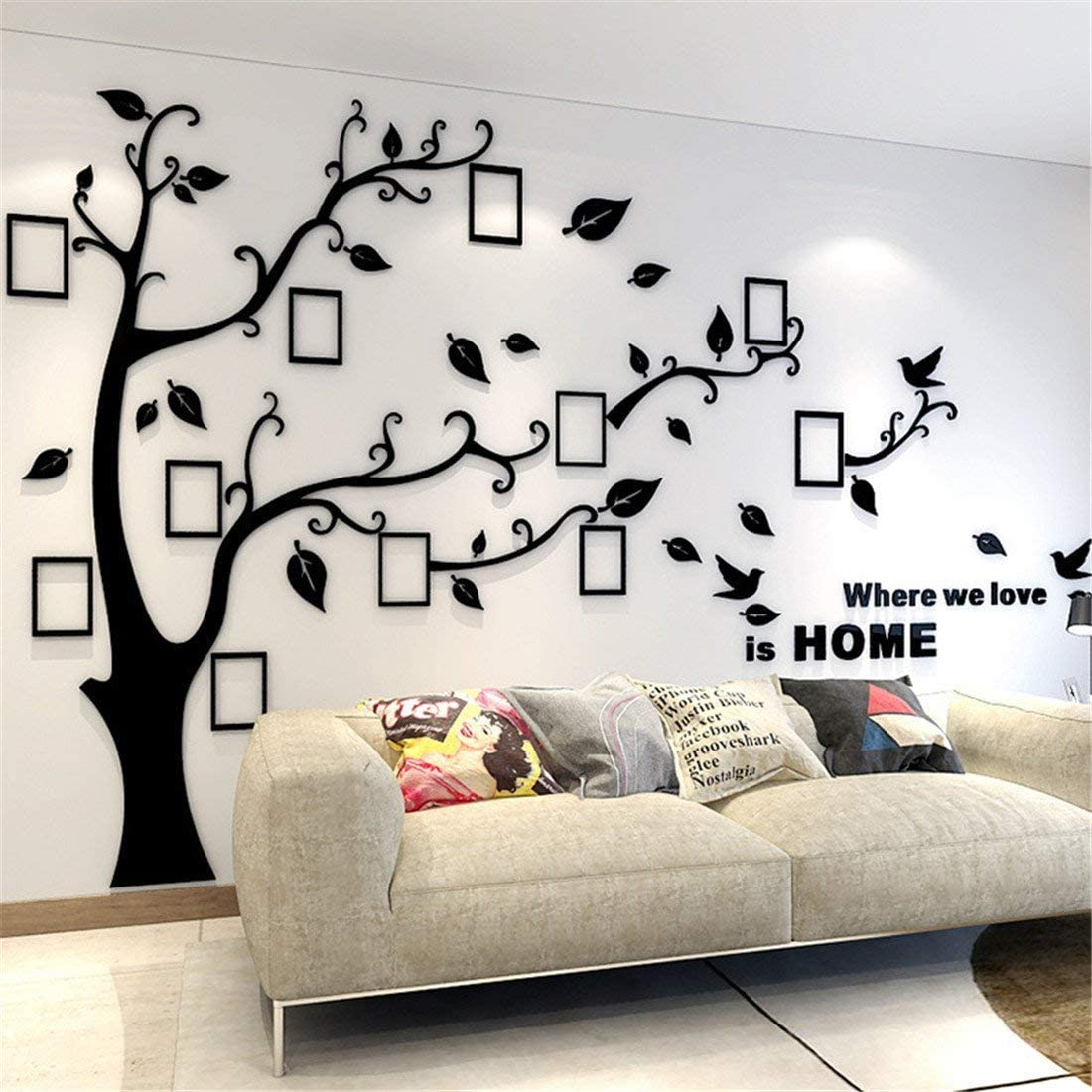 Unitendo 3D Acrylic Wall Stickers Photo Frames FamilyTree Wall Decal Easy to Install &Apply DIY Photo Gallery Frame Decor Sticker Home Art Decor (Black Leaves-Left, XL)