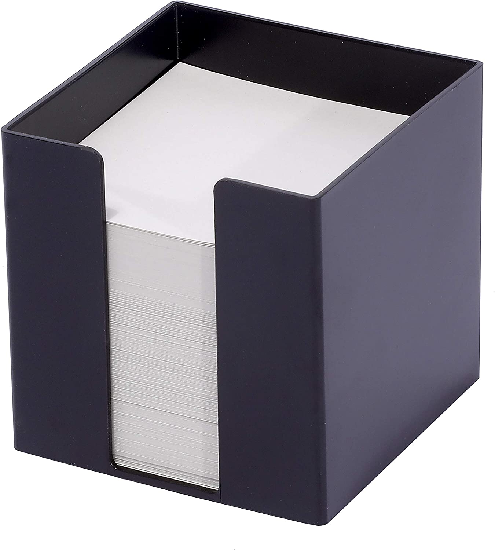 schwarz Zettelbox aus Kunststoff 95x95x95mm 80g//qm FSC gef/üllt mit 700 Blatt wei/ßem Papier