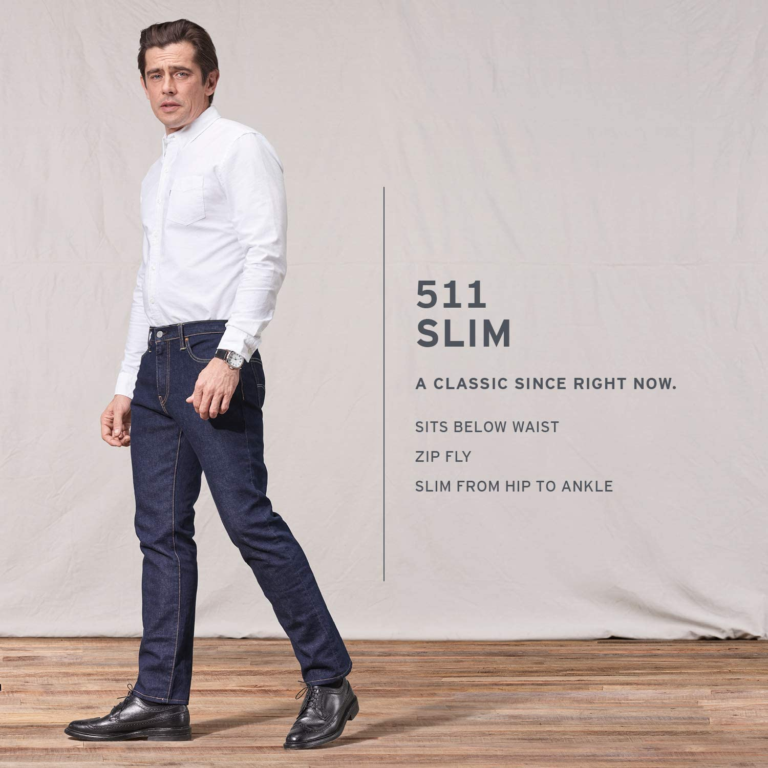 Levis - Jean - Homme - 511 Slim Fit 0751 Light Poly Stonewashed - Bleu Patiné Pumped Up - Stretch