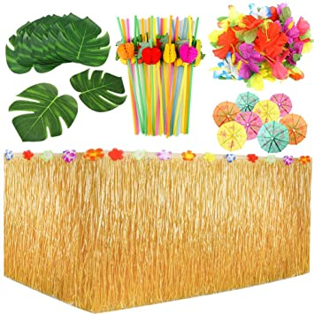 109er Set Hawaii Luau Party Deko Beach Party Tiki Bar Karibik Sommerparty Strandparty Tikibar Garten Dekoration Mit Tischrock Tropische Blätter
