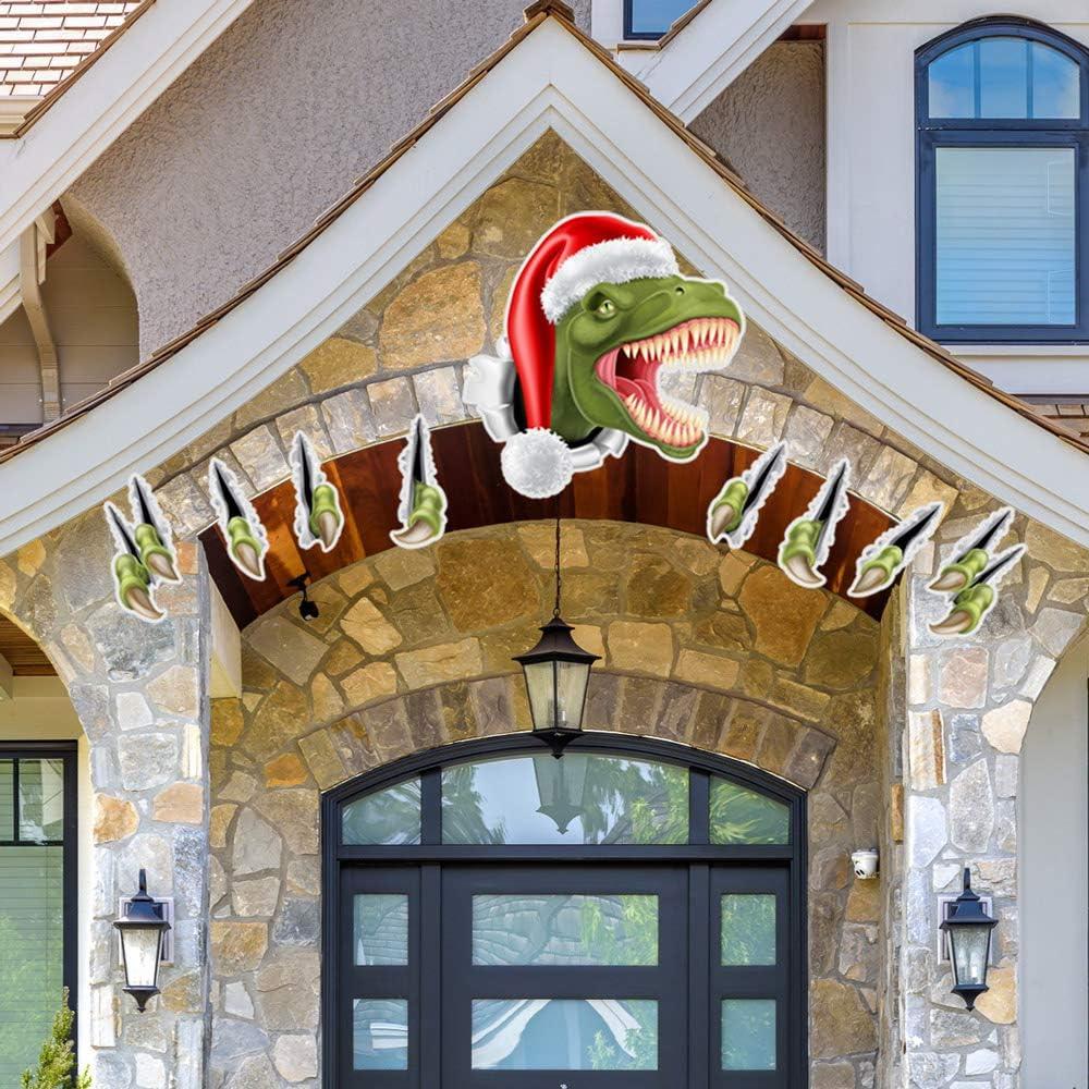 Cooyes Christmas Decorative Sticker Cartoon Garage Door Decoration Wall Stickers Christmas Snowman Fridge Decals,Elk, Dinosaur Stickers,for Children's Room Fridge Window Wall Party Decor (Dinosaur)
