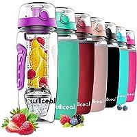 Willceal Waterfles met fruitfilter, 945 ml, duurzaam met afneembare ijsgelbal, groot, BPA-vrij Tritan, flip-deksel…
