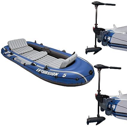 Amazon Com Intex Excursion 5 Person Inflatable Fishing Boat Set