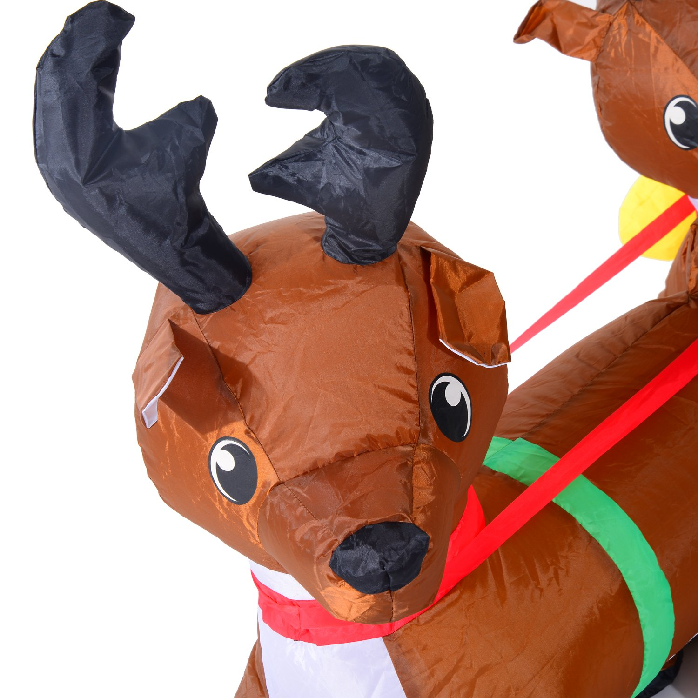 Babbo Natale con Renne Gonfiabile Pupazzi Luminosi a LED in Poliestere 210 x 80 x 120cm Rosso e Marrone Homcom
