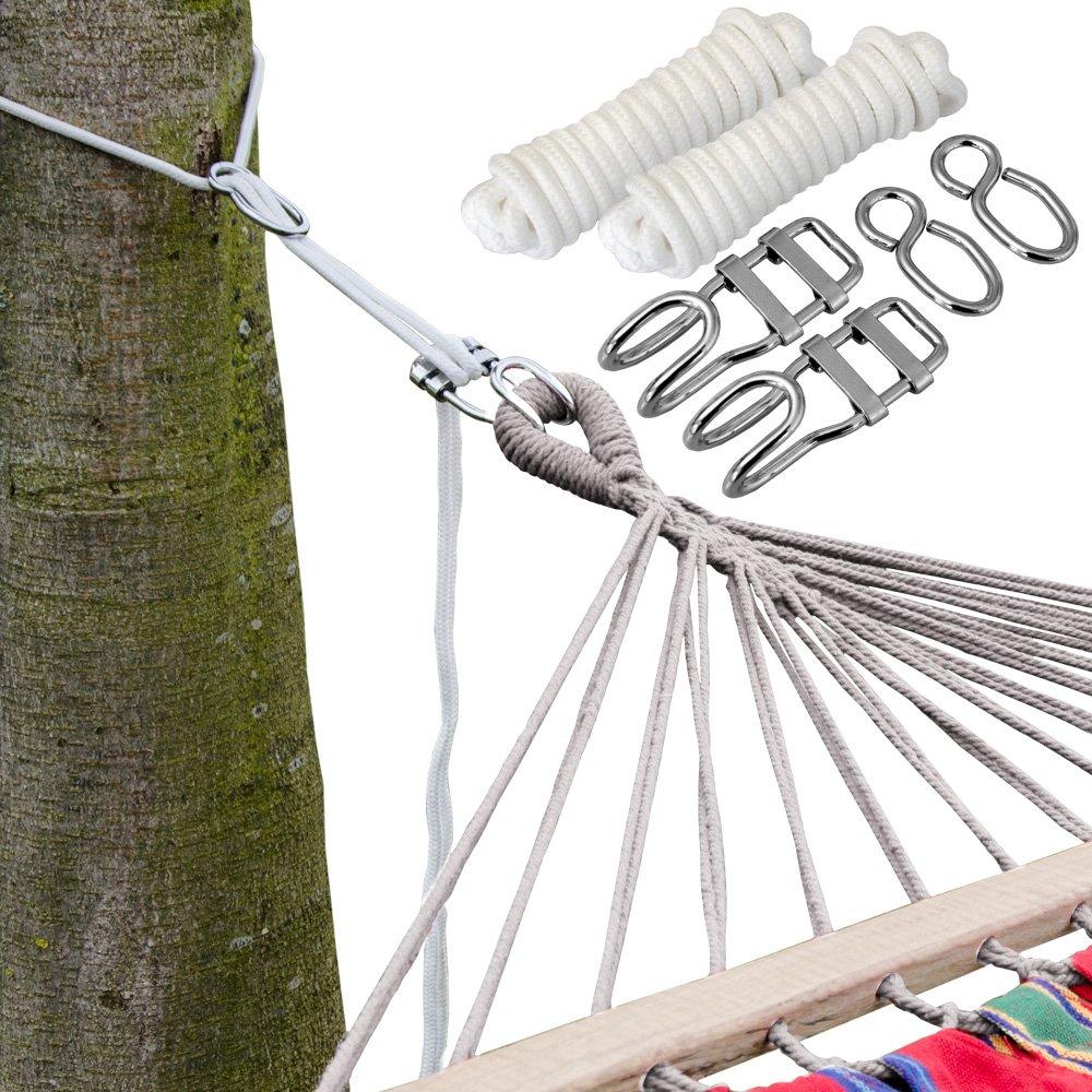 AMANKA Kit para Colgar Hamacas a los Àrboles | Cuerda 6 m | Peso máximo soportado 160 Kg | Kits Completo: Amazon.es: Jardín