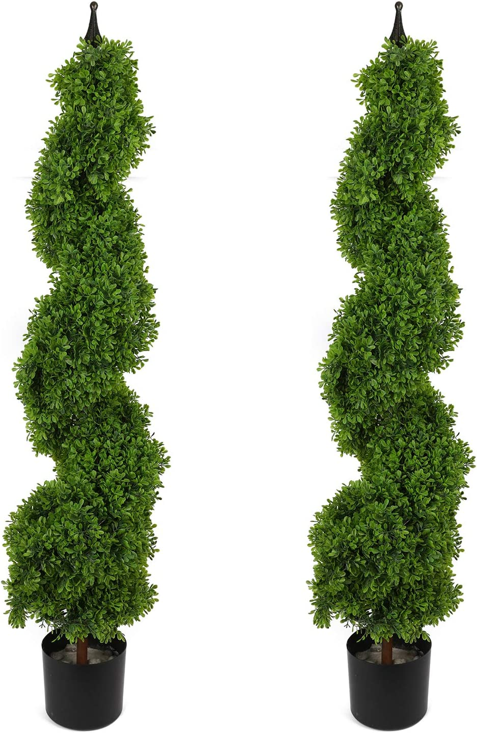 Houseables Artificial Boxwood Topiary, Fake Spiral Trees, 2 Pack, 4', Plastic Plants, Outdoor Porch Décor, Faux Potted Bushes, Indoor Ornamental Tree, with Finial, for Front Door, Tall Entryway Shrubs
