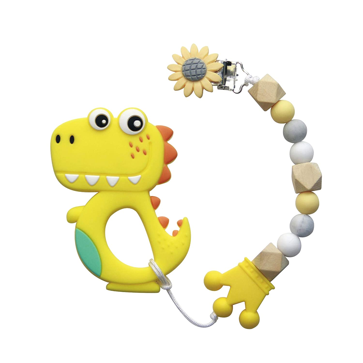 Baby Teether Teething Collares Pacifier Clips Chew Toy Silicone BPA Free FG