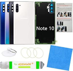 Galaxy Note 10 Back Glass Cover Replacement Housing Door with Pre-Installed Camera Lens +Installation Manual +All the Adhesive +Repair Tools for Samsung Galaxy Note 10 SM-N970 All Carriers(Aura White)