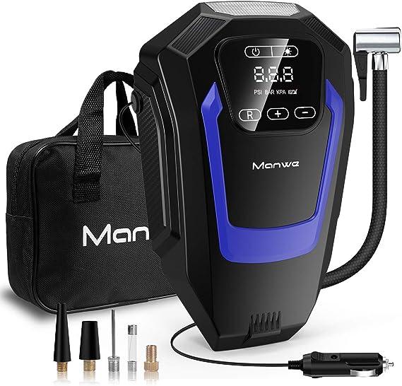 Manwe Compresor de Aire Coche, Inflador Coches Portatil, Con Manómetro de 12V para Hinchar Neumático de Moto Coche y Bicicleta