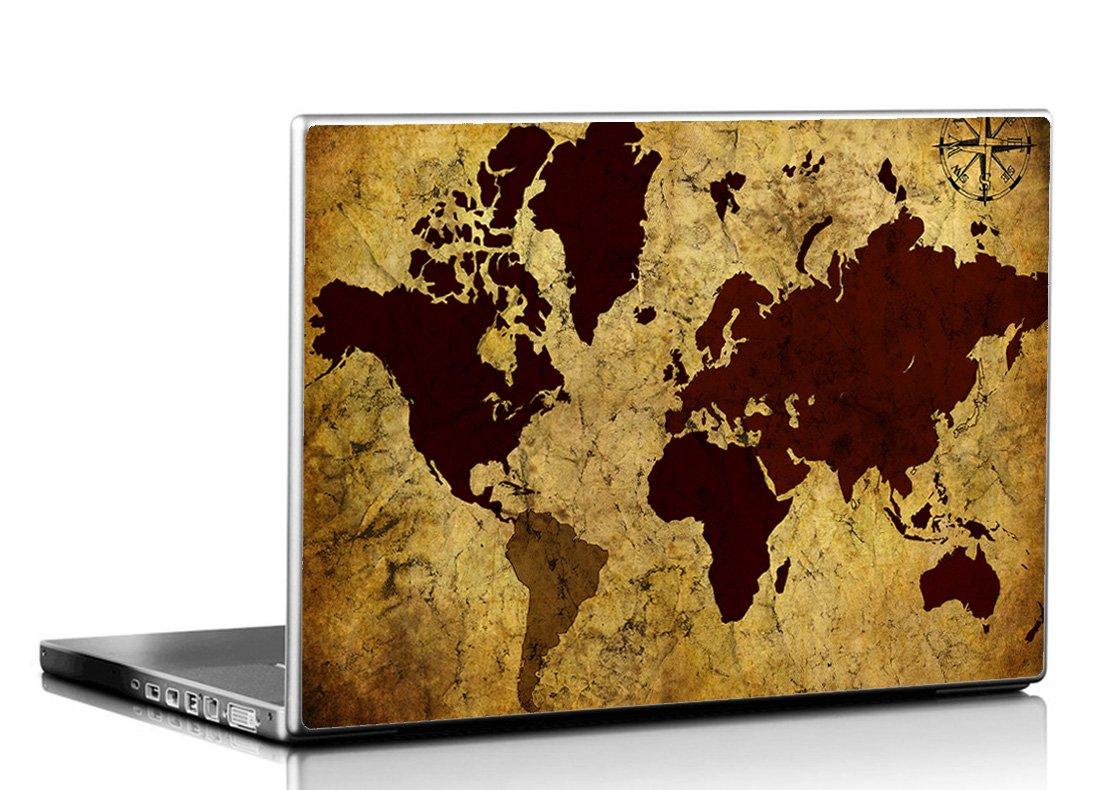 Seven Rays Grunge Vintage World Map Laptop