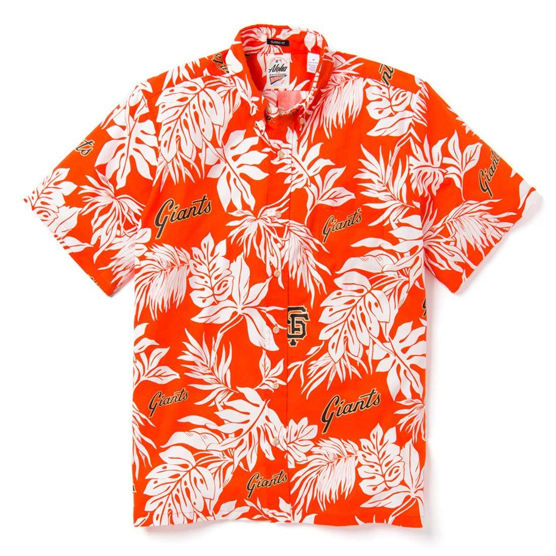 2810dbb3 Reyn Spooner Men's San Francisco Giants MLB Classic Fit Hawaiian Shirt at  Amazon Men's Clothing store: