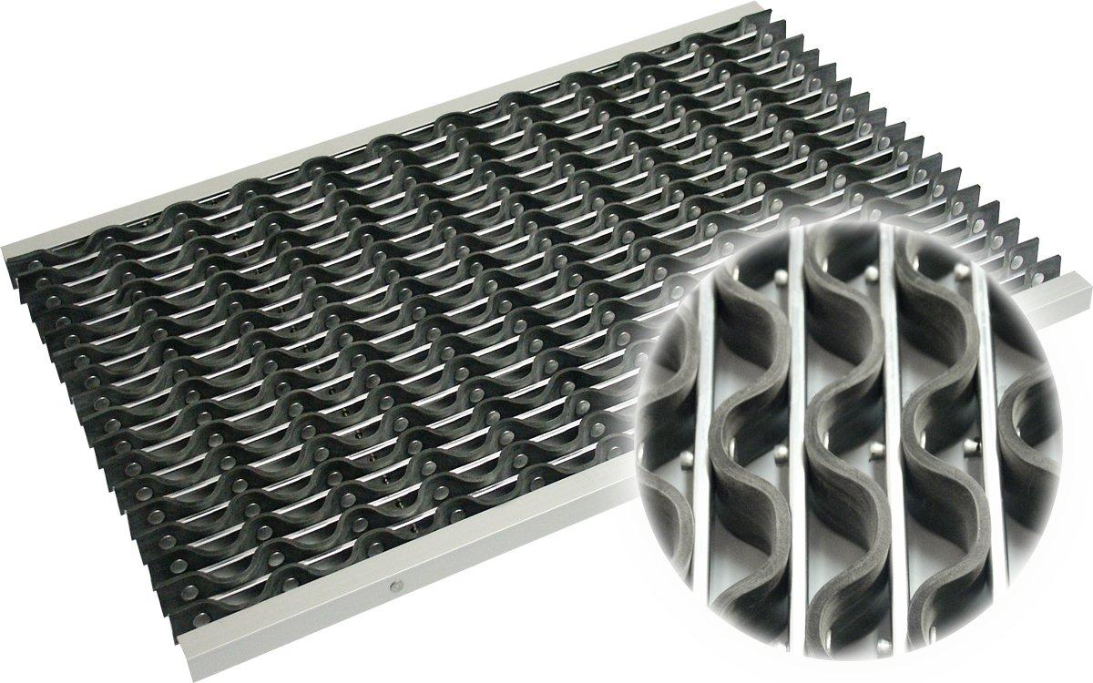 Alu Fußabstreifer   Eingangsmatte 58,5 x 38,5 cm, Höhe  22 mm, zur Verlegung in einer Bodenaussparung, Schmutzfangmatte mit Gummiprofile für Außenbereiche