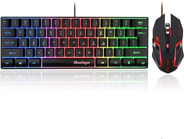 Bluefinger 60% Gaming Keyboard y ratón Combo, compacto 61 ...