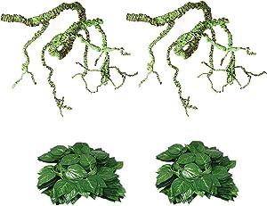 Flexible Bend-A-Branch Jungle Vines Plastic Terrarium Plant Leaves Pet Habitat Decor for Lizard,Frogs, Snakes and More Reptiles (Reptile Vines)