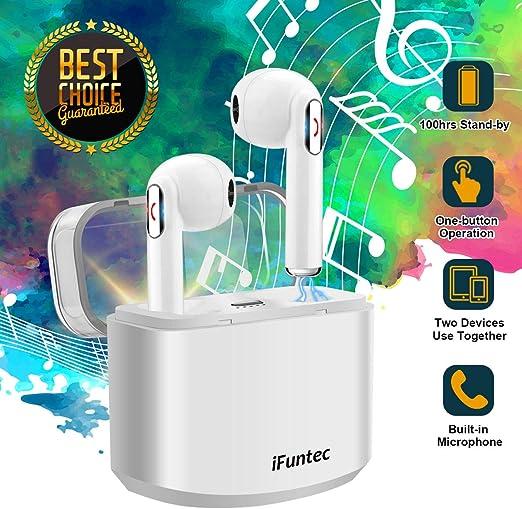 iFuntec Écouteurs sans Fil, Casque Bluetooth avec Mic Mini Intra Auriculaires Casque Écouteur avec Étui de Charge, Réglable Audio Stéréo Oreillettes