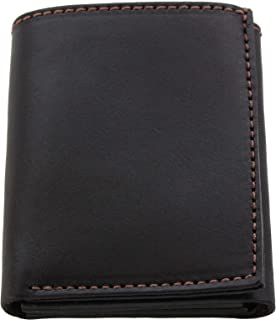 product image for Premium Full Grain Bridle Leather Men's Trifold Wallet With ID Window – Brown - Made in USA