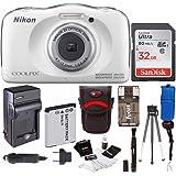 Nikon Coolpix W100 Rugged Digital Camera w/ Memory Card & Accessory Bundle (32 GB, White)