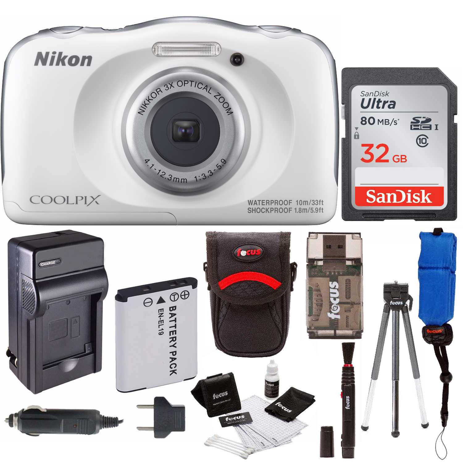 Nikon COOLPIX W100 Waterproof Digital Camera (White) + 32GB Card + Battery with Charger + + Kit