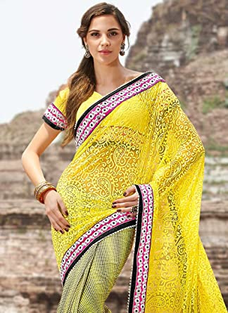 d15dbc07488d7a Cbazaar Bubbly yellow net half N half saree.: Amazon.in: Clothing &  Accessories