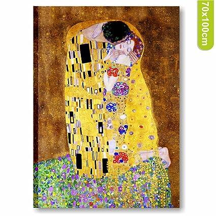 Quadri L&C ITALIA Klimt Il bacio Quadro artigianale stampa su tela ...