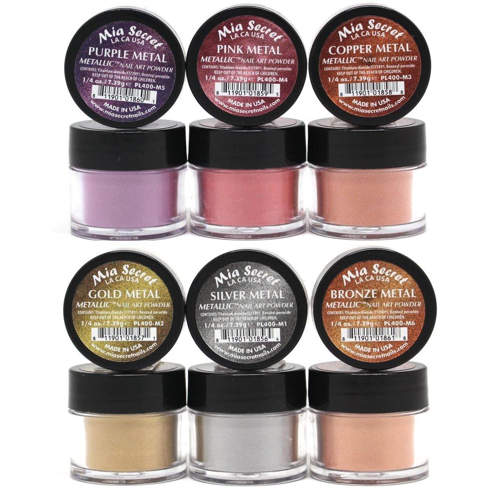 Amazon.com: Mia Secret -Metallic Nail Acrylic Powder set of 6: Beauty