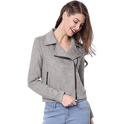 Allegra K Women's Short Soft Zip Up Faux Suede Biker Moto Jacket at Women's Coats Shop