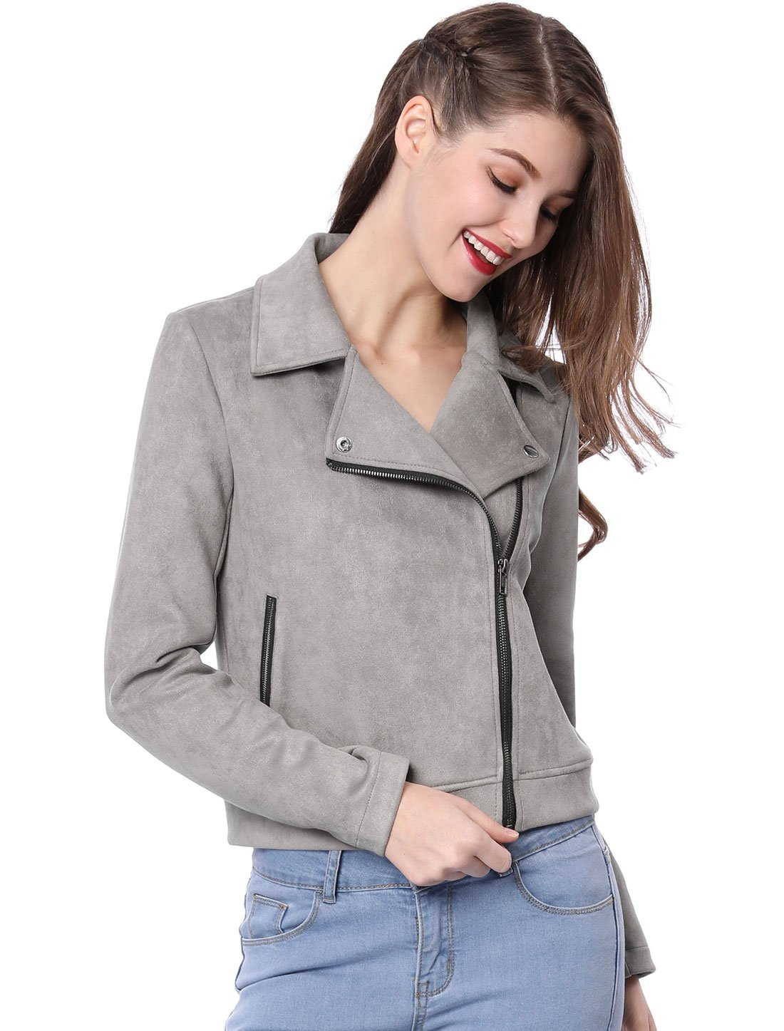 Allegra K Women's Convertible Collar Zip up Faux Suede Moto Jacket M Grey