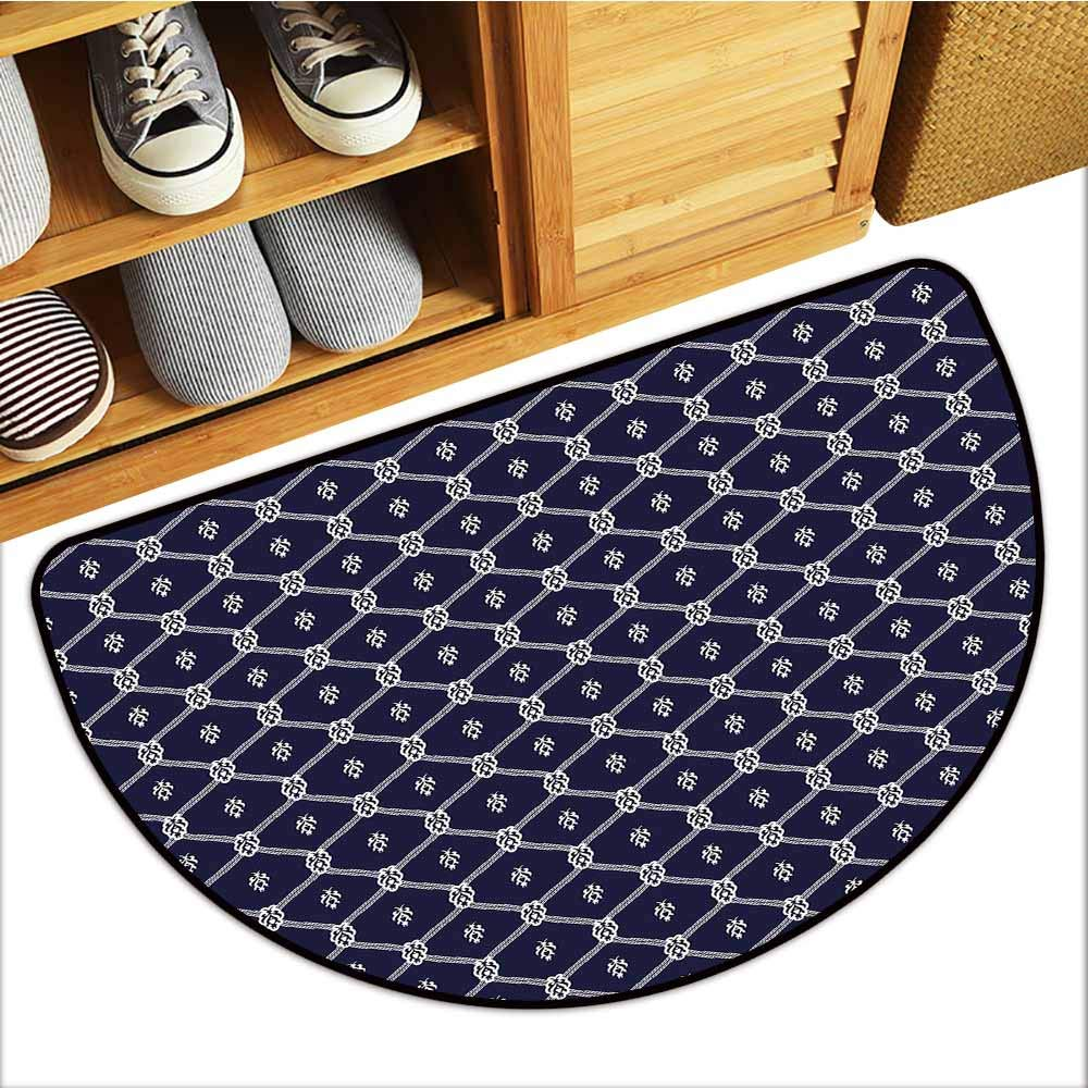 Custom&blanket Pet Mat Machine Washable, Geometric Non-Slip Mats for Living Room, Ornamental Nautical Themed Image with Marine Motifs Ropes Aquatic Elements (Dark Blue White, H24 x D36 Semicircle)