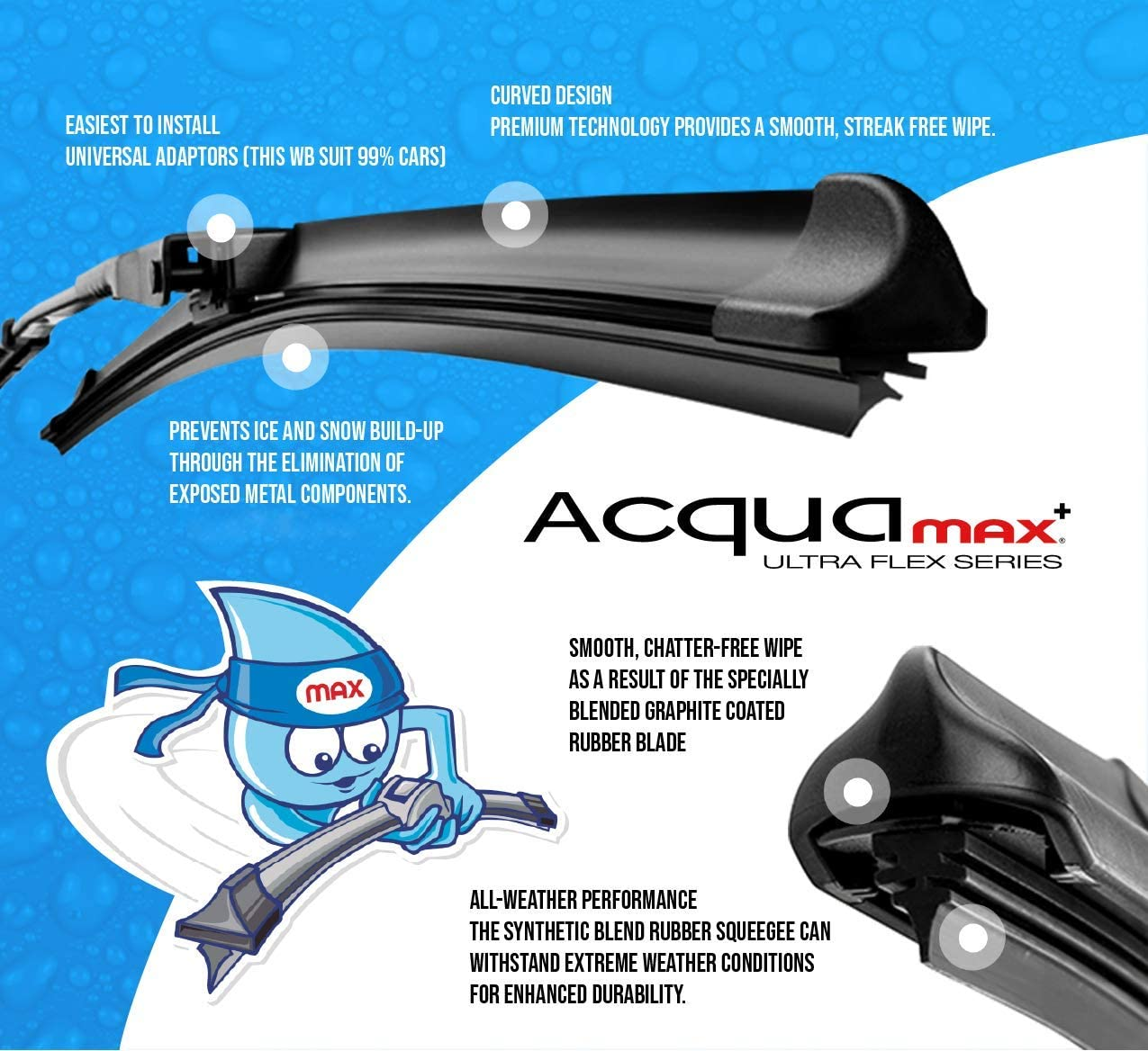 Sumex Acqua Max All Year Front or Rear Replacement Windscreen Wiper Blades 32 // 80cm Black