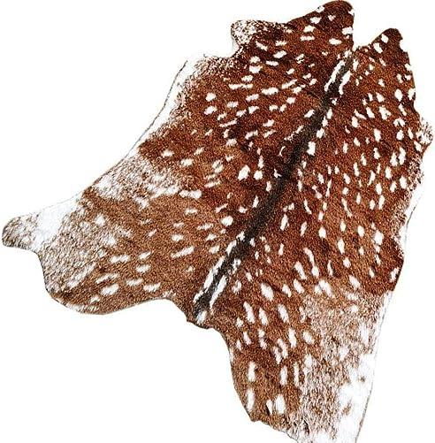 Faux Sika Deer Printed Area Rug, 5.9 x 5.1 Ft Large Faux Fur Cowhide Area Rug Animals Mat Carpet for Home, Office Livingroom, Bedroom