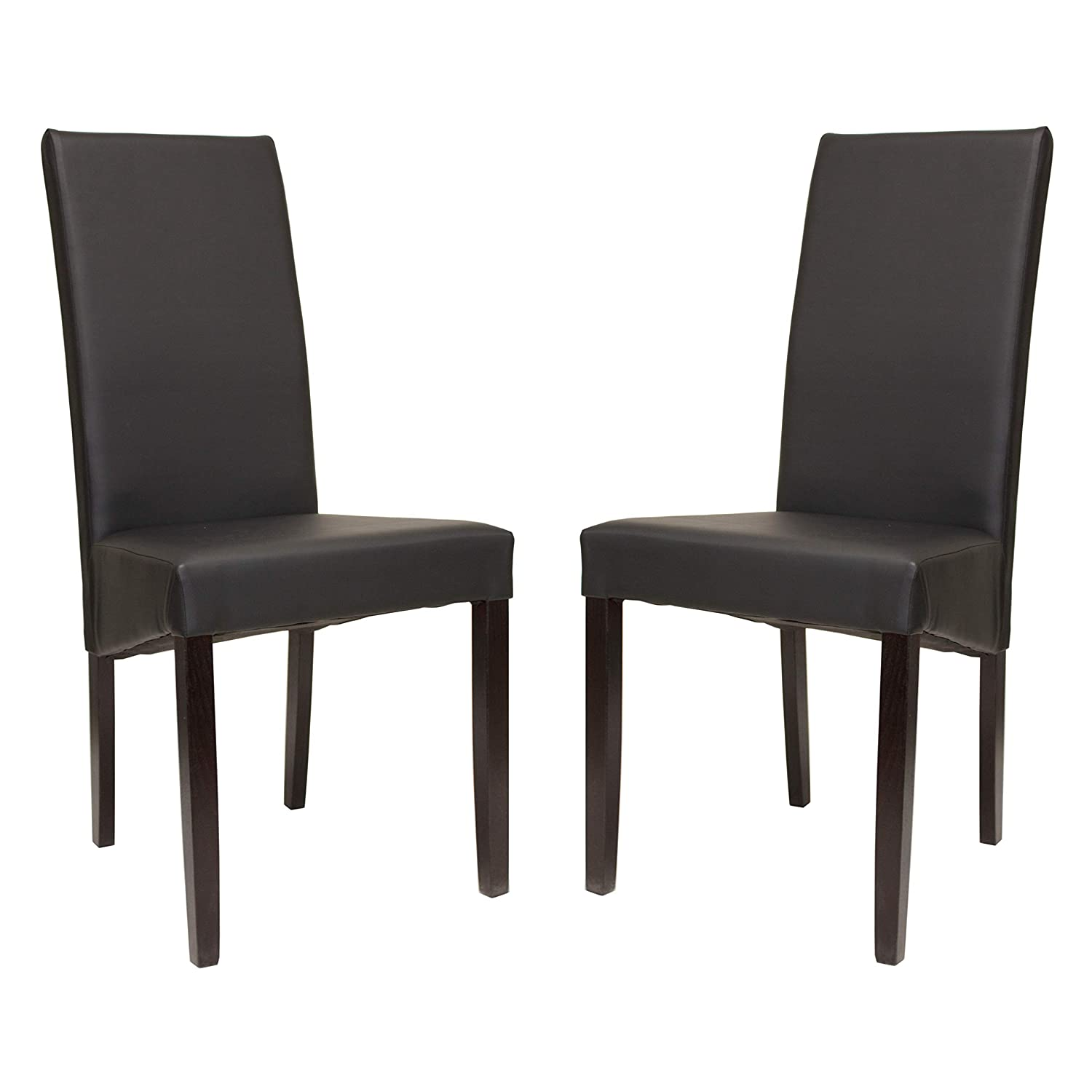 Premium Tobago Grey Dining Chairs Set by Furniture Estate   Modern Faux Leather Side Chairs with Wooden Frame and Legs for Home and Restaurant Use - Set of 2
