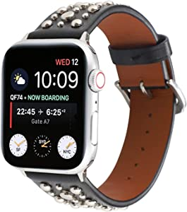 Bling Stud Leather Bands Compatible with Apple Watch, Studded Rivets Strap Wristband Replacement Bracelet for iWatch 44mm SE/Series 6 5 4 & 42mm Series 3 2 1, Black/Silvery