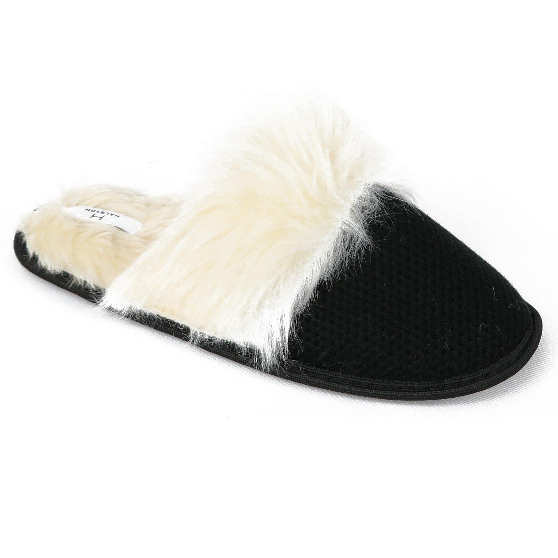 Halston Women's Faux Fur Memory Foam Slipper (5-6 B(M) US, Black)
