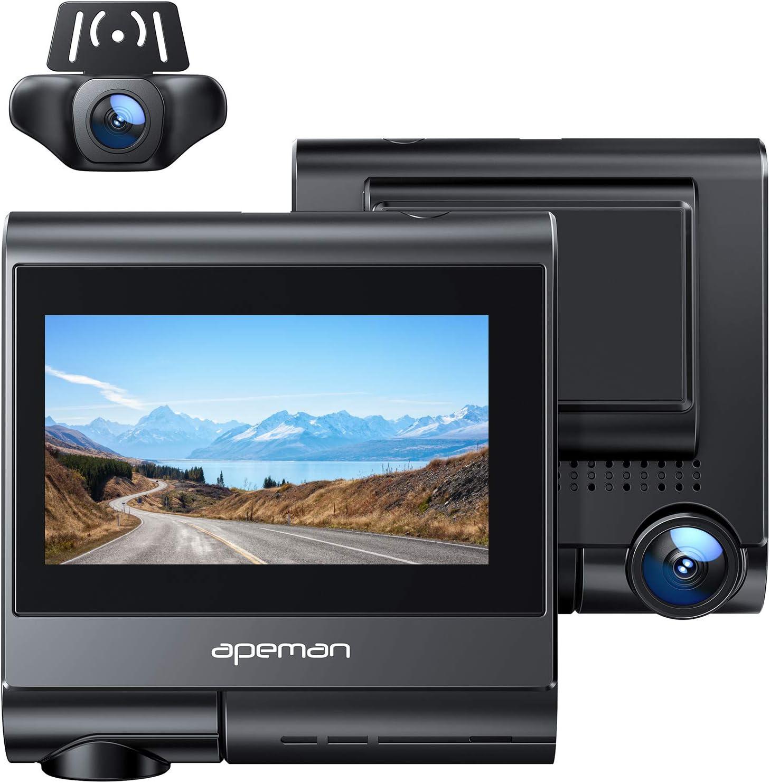 APEMAN Dual Dash Cam Built-in GPS
