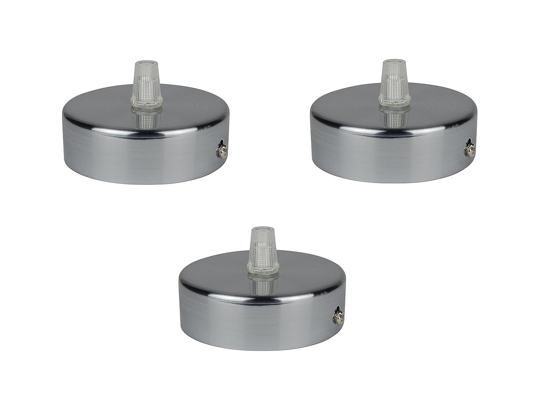 Florón cepillado, embellecedor para lámpara de techo, suspensor estándar tamaño m10, 80x25 mm, incl. pasacables/prisionero para fácil montaje, ...