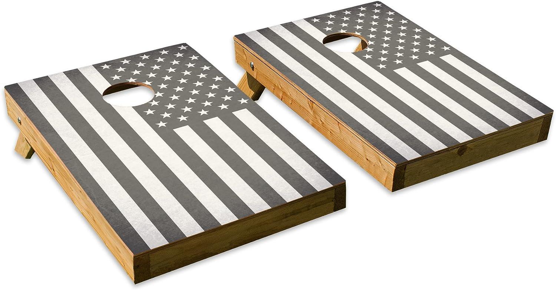 ブラックandホワイトアメリカ国旗デザイン – テールゲートCornholeボードセットwith 8バッグ