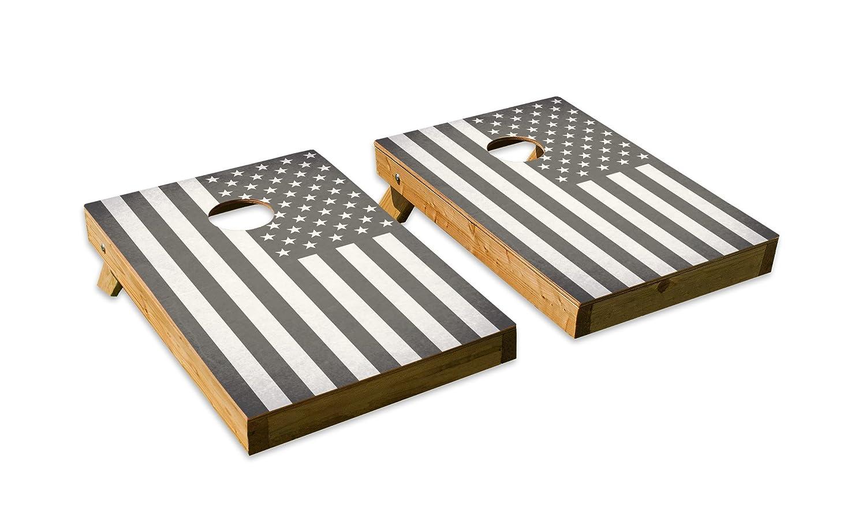 ブラックandホワイトアメリカ国旗デザイン – テールゲートCornholeボードセットwith 8バッグ B07DQKK6FT